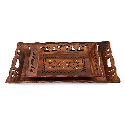 Rusticity Indian Rosewood Antique Designer Butler Serving Tray for Hot & Cold Drinks/Vintage Rustic Decorative Handmade Sheesham Food Platter for Dining Tableware & Kitchen Accessory (15 x 10 x 2 in) from Rusticity