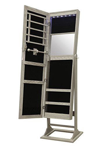 Abington Lane Standing Jewelry Armoire - Lockable Cabinet Organizer with Full Length Mirror and LED Lights (Heathered Wood) ()