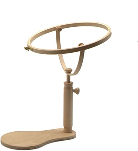 Adjustable Wooden Embroidery Hoop Seat Stand Sewing Cross Stitch Rack Frame