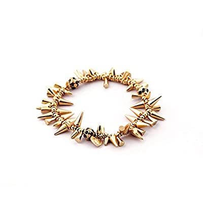 Yellow Gold Spike Chain Fashion Statement Bracelet 6 Inch for cheap
