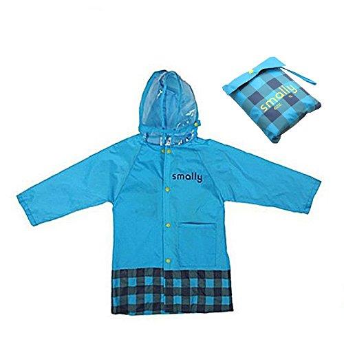 Vkenis Waterproof Cartoon Children's Raincoat for Kids Aged 4-12 (XL, Blue)