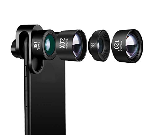 LENS Mobile Phone Wide Angle Macro Fish Eye Telephoto 4 in 1 Distortion-Free Mobile Phone External for iPhone, Samsung, LG HTC and Other Smartphone