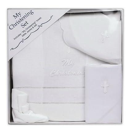 Para bebé de color blanco bautizo Set – incluye toalla, Biblia, Calcetines y babero