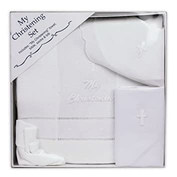 Para bebé de color blanco bautizo Set - incluye toalla, Biblia, Calcetines y babero - Hecho En EE. UU.: Amazon.es: Bebé