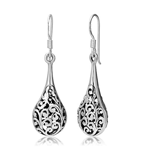 - 925 Oxidized Sterling Silver Bali Inspired Filigree Puffed Raindrop Dangle Hook Earrings