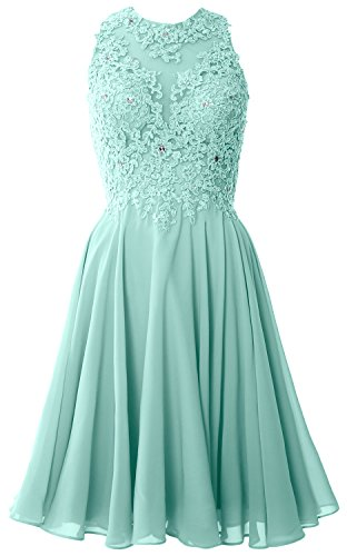 MACloth Women High Neck Lace Cocktail Dress Short Prom Homecoming Formal Gown Aqua 6aSdPJ6