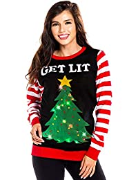 Women's Light Up Christmas Sweater - Black Lit Funny Ugly Christmas Sweater Female