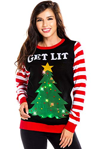 Tipsy Elves Women's Light Up Christmas Sweater - Black Lit Funny Ugly Christmas Sweater Female: Small -