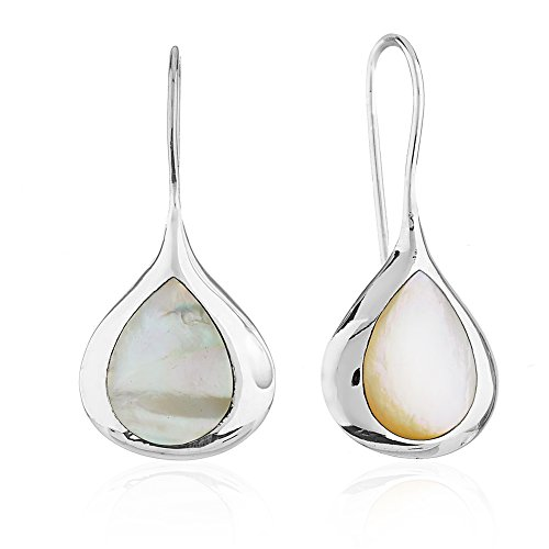 Iridescent Flush - 925 Sterling Silver Mother of Pearl Shell Teardrop Minimalist Nature Inspired Drop Earrings