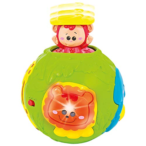 (Jungle Animal Roll & Learn Fun Baby Activity Ball. Activity Center with Lights, Sounds and Music. Electronic Playtime Light Up Monkey Ball Toy for Infants and Toddlers Aged 6 Months to 3 Years Old)