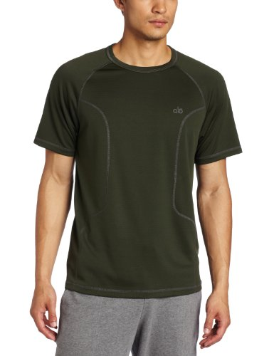 Alo Mens Bamboo - Alo Yoga Men's Zen Short Sleeve Tee, Juniper/Granite, XX-Large