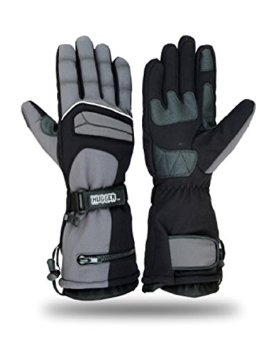 (Hugger Glove Company Men's Textile Gauntlet Winter Warm Snowmobile Gloves (Large, Gray/Black))