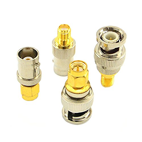 Bnc Coaxial Rg6 Cable (SMA to BNC Kits RF Coaxial Adapter Male Female Coax Connector 4 Pieces)