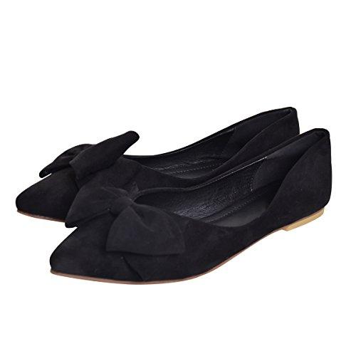 Toe Dear Flats Dear Pointed Shoe Bowknot Women Black Time Time vYnUU