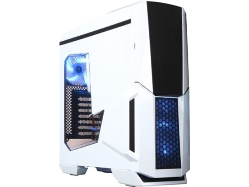 DIYPC Gamemax-W White Dual USB 3.0 ATX Full Tower Gaming Computer Case with Build-in 5 x Blue Fans (2 x 120mm LED Fan x Top, 2 x 120mm LED Fan x Front, 1 x 120mm LED Fan x Rear), Water Cooling Ready