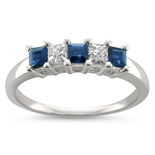 La4ve Diamonds 14k White Gold Princess-Cut Diamond & Blue Sapphire Bridal Wedding Band Ring (1/2 cttw, H-I, I2-I3), Size 8