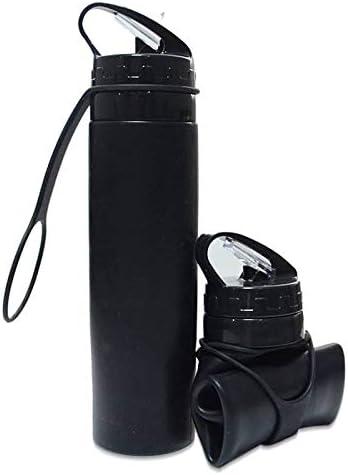 JB GlobalTM Botella de agua de silicona plegable de color negro, 600 ml, diseño patentado, plegable, sin BPA, a prueba de fugas y sin olor, ultraligera