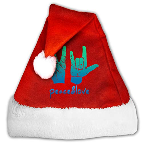 Alfred Weekjey Vintage Peace Love Handprint Sign Santa Hat Christmas Hats with Plush Trim for Adults Children]()