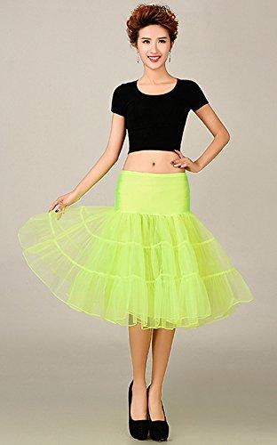 De la Mujer Classic elástico, de 2capas de tul tutú falda Flsorescence Green