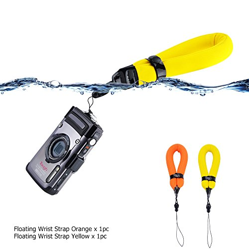 2 Pack Waterproof Camera Float Strap for Fujifilm XP130 XP120 XP90 XP80/GoPro Hero6 Hero5 Hero4 Hero3+/Panasonic TS30/Olympus TG5 TG4 TG3 TG2 TG870/Nikon W300 W100 AW120 AW110 AW100/Canon D30 D20 D10
