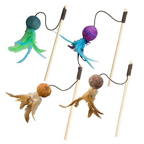 Ethical Pets Wool Ball Teaser Wand Wuggles Cat Toy, (Ball Teaser Cat Toy)
