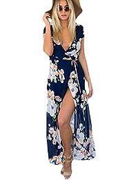 Chvity Women's Bohemian Floral Print Side Slit Long Maxi...
