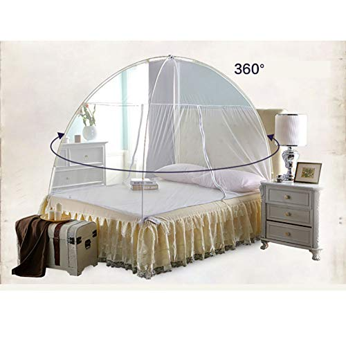 Mosquito Net Bed Canopy Yurt Dome Net-Free Installation and Folding Nets Prevent Insect Indoor and Outdoor Decorative 150CM,Pink,150200CM by LINLIN MOSQUITO NET (Image #5)