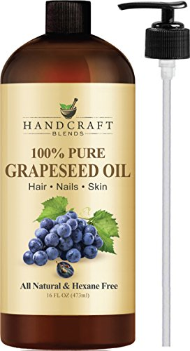 100% Pure Grapeseed Oil - All Natural Premium Therapeutic Grade - Huge 16 OZ - Carrier Oil for Aromatherapy, Massage, Moisturizing Skin & Hair ()