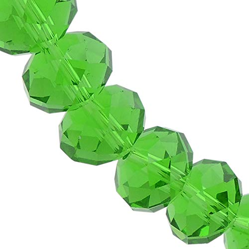 - 10MM Medium Emerald Glass Crystal Beads Faceted Rondelle Shape Beads for Jewelry DIY or Making & Design (10MM, GB-1009)
