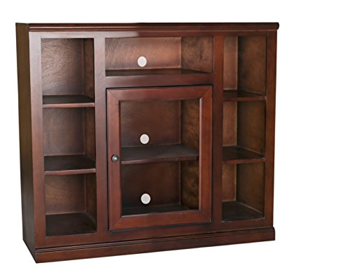Cherry Traditional Tv Stand - Eagle Coastal Tall Bookcase Entertainment Console, 45