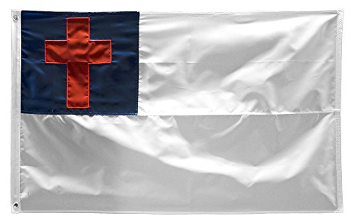 - ALBATROS 6x10 Embroidered Christian Christ Cross 220D Nylon Flag 6inx10in Grommets Clips for Home and Parades, Official Party, All Weather Indoors Outdoors