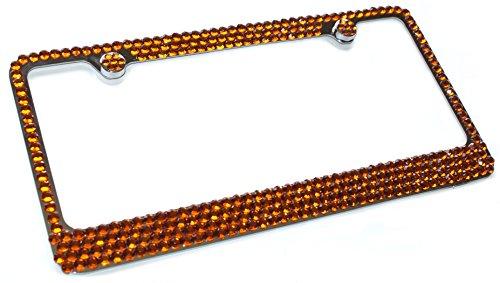 - Hotblings 4 Row TOPAZ BROWN Crystal Rhinestone Bling Sparkle Metal License Plate Frame & Caps Set