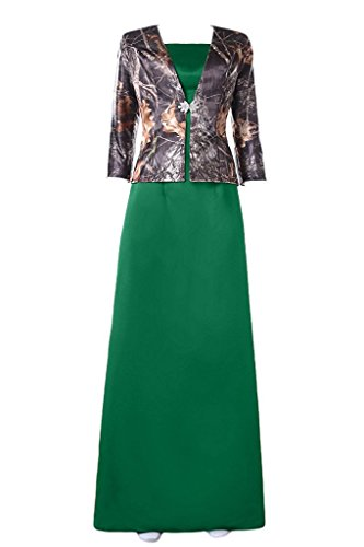 DianSheng Modest Mother Of Bride Dress Jacket With Sleeves Camo Formal Gown Dark Green us18w