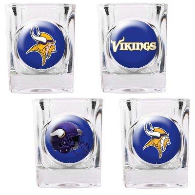 Minnesota Vikings - 4 Piece Square Shot Glass Set w/Individual Logos