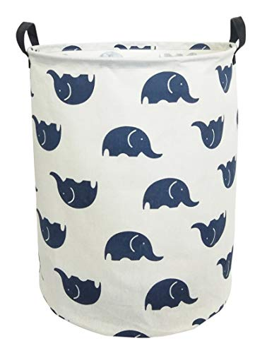 CLOCOR Large Storage Basket,Canvas Fabric Waterproof Storage Bin Collapsible Laundry Hamper for Home,Kids,Toy Organizer (Blue Elephants) by CLOCOR