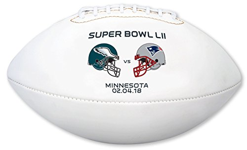 "Super Bowl 52 LII NFL Autograph Model Youth Size Football 9"" - with Eagles and Patriots Logo on Fooball - New in Box from Creative Sports"