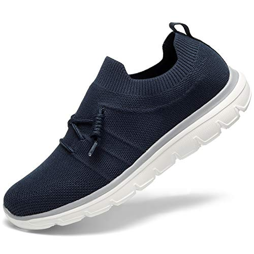 (GM GOLAIMAN Mens Flyknit Sneakers Casual Walking Slip on Fashion Sock Running Shoes Navy 14)