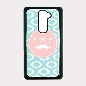 Be A Cheerl Fleur De Grow A Have Hipster Mustache Aqua Ikat Cute Hipster Aqua Silicon Bumper LG G2 Optimus G Case - For LG G2