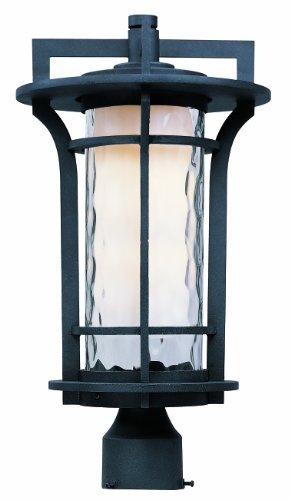 Maxim 30480WGBO Oakville 1-Light Outdoor Pole/Post Lantern, Black Oxide Finish, Water Glass Glass, MB Incandescent Incandescent Bulb , 12W Max., Dry Safety Rating, 2700/3200K Color Temp, ELV Dimmable, Shade Material, 840 Rated Lumens