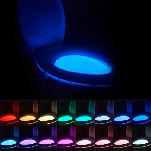 16-Color Toilet Night Light, Motion Activated Detection Bathroom Bowl Lights, Unique & Funny Birthday Gifts Idea for Dad Teen Boy Kids Men Women, Cool Fun Gadgets Gag Stocking Stuffers (Up Puts Who Lights Christmas)