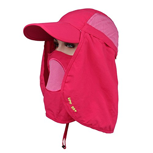 (Leories UV 50+ Sun Protection Multifunctional Outdoor Summer Flap Cap with Removable Sun Shield and Mask Hot Pink)