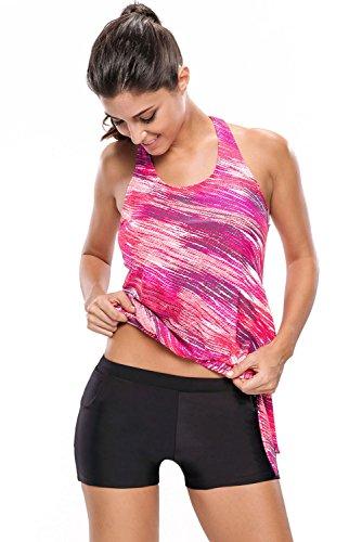 EnlaChic Women's Retro Oceanic Stripes Colorblock Tie 2pcs Swimsuit Tankini,Rosy,XXL