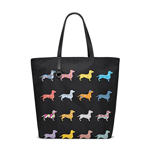 ALAZA Funny Dachshund Dog Black Tote Bag Purse Handbag for Women Girls