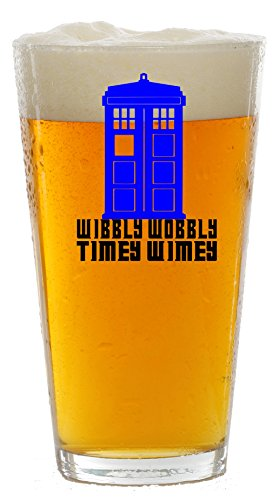 Wibbly Wobbly Timey Wimey Tardis Beer Glass Custom Made with Vinyl Graphics/Birthday Gift