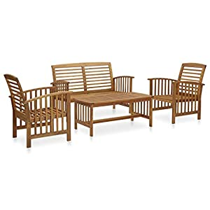 vidaXL Solid Acacia Wooden Garden Furniture Lounge Set 4 Piece