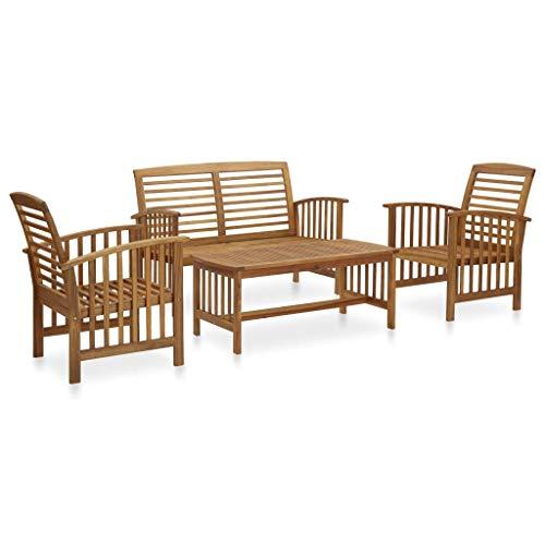 vidaXL Solid Acacia Wooden Garden Furniture Lounge Set 4 Piece