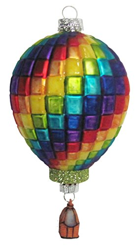 Blocks of Bright Color Hot Air Balloon Glass Holiday Orna...