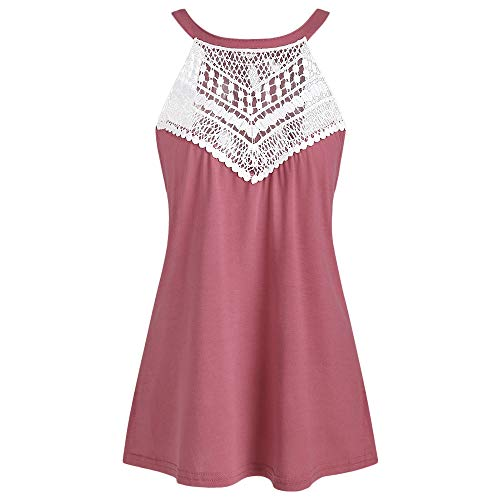 KCatsy Round Neck Lace Panel Tank Top Pink Rose