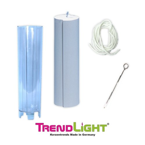 TrendLight ® 860509 - Stampo per candela, ovale a gradini, include stoppino da 1 m, supporto per stoppino e guida, 60 x 220 mm