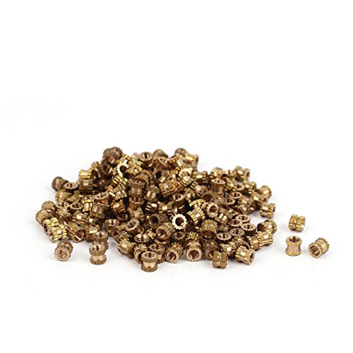 uxcell M2 x 3mm Brass Cylinder Injection Molding Knurled Insert Embedded Nuts 200PCS
